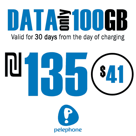 Pelephone 100GB Data Only for 30 Days