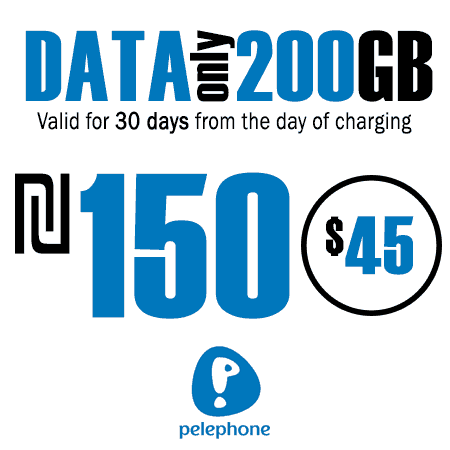 Pelephone 200GB Data Only for 30 Days