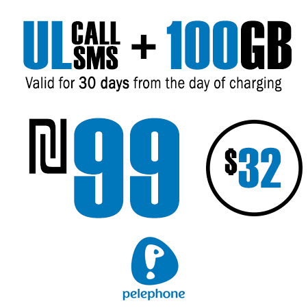 Pelephone Unlimited Calls and SMS + 100GB for 30 Days