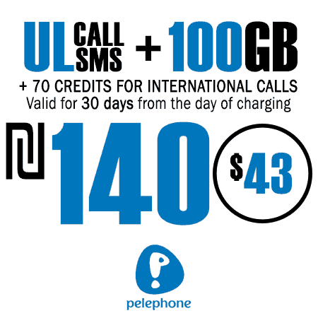 Pelephone Unlimited Calls and SMS + 100GB + 70 Credits for International Calls for 30 Days