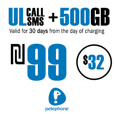 Pelephone Unlimited Calls and SMS + 500GB for 30 Days