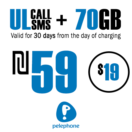 Pelephone Unlimited Calls and SMS + 70GB for 30 Days