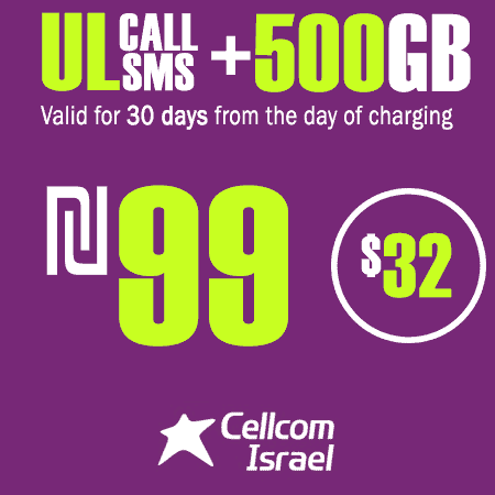 Cellcom Unlimited Calls and SMS + 500GB for 30 Days