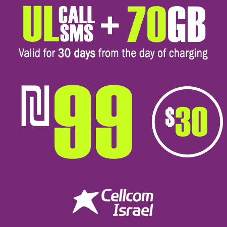 Cellcom Unlimited Calls and SMS + 70GB for 30 Days