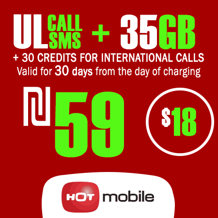 Hot Mobile Unlimited Calls and SMS + 35GB + 30 Credits for International Calls for 30 Days