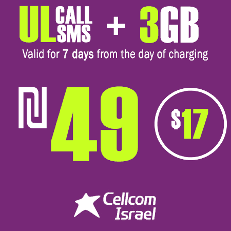 Cellcom Unlimited Calls and SMS + 3GB for 7 Days