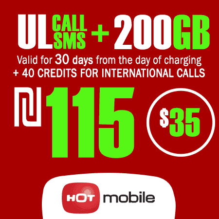 Hot Mobile Unlimited Calls and SMS + 200GB + 40 Credits for International Calls Data for 30 Days